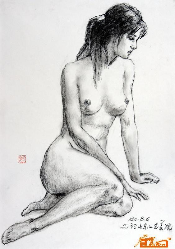 窦基庭-素描《模特写生》-淘宝-名人字画-中国书画