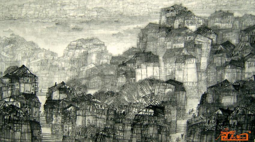 名家 余光清 国画 - 重庆民居